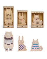 wooden animal cross stitch toy