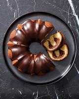 vanilla bundt cake with chocolate-cream cheese filling