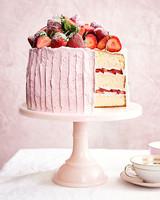 vanilla sponge cake with strawberry-meringue buttercream