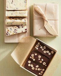 chocolate-hazelnut fudge in poplar box