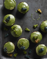 pistachio cupcakes with ghastly green glaze