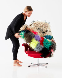 """Upgrade Your Old Furniture With Colorful """"Chair Rugs"""" Made by Syrian Refugees"""