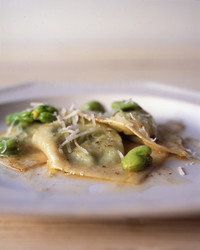 Ravioli Stuffed with Fava Beans, Ricotta, and Mint with Brown-Butter Sauce
