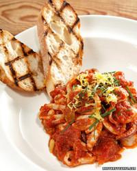 Sauteed Calamari with Tomatoes, Basil, Raisins, and Pine Nuts