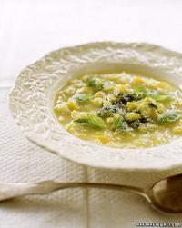 Summer Squash Soup with Basil Pistou