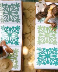 Stenciled Hawaiian Cushions