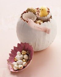 Papier-Mache Easter Eggs with Pom-Pom Chick