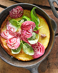 beet farinata in skillet