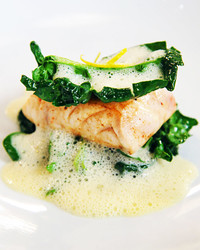 Providence's Striped Bass with Yuzu Kosho and Wilted Spinach