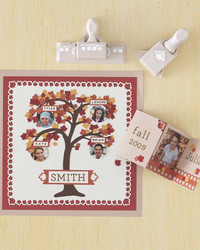 Family Tree Scrapbook Page and Leaves Accordion-Fold Card