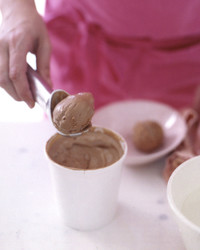 scooping chocolate ice cream