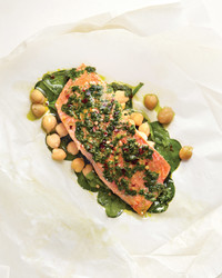 Salmon with Spinach and Chickpeas