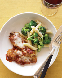 chicken tenders parmesan with broccoli and pasta