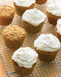 Hazelnut Carrot Oat Cupcakes With Cream Cheese Frosting