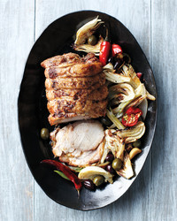 roast pork with fennel chile olives