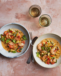 two bowls of shrimp maque choux