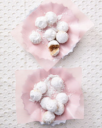 chai snowball dessert on plate with pink striped paper