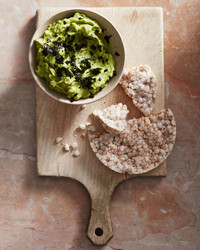 nori guacamole served with a rice cake