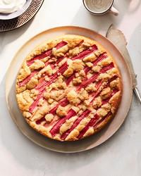 rhubarb crumb cake recipe circle plate