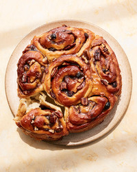 apple pecan rolls on tan plate
