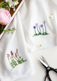 Make This Set of Floral Embroidered Tea Towels