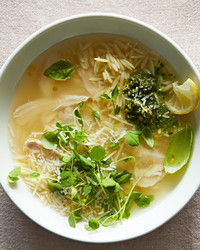 lemony pesto chicken soup