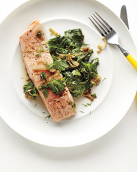 quick braised salmon lettuce