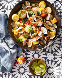 smoky clams and fregola