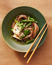 soba noodle bowl with tofu recipe plate