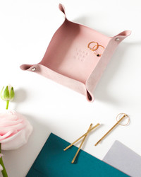Our Pretty-in-Pink Leather Valet Tray is Stamped with a Sweet Message