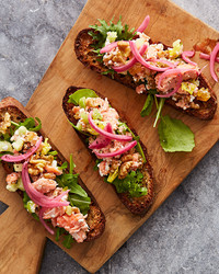 salmon salad with celery and walnuts
