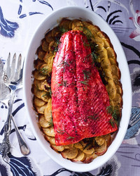 beet dill wild roasted salmon