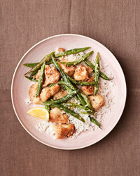 lemon chicken with green beans and rice