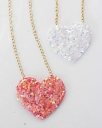 DIY Glitter Heart Necklace