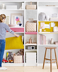 Try This DIY Trick for Hiding a Cluttered Shelf