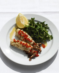 river cafe grilled squid greens lemon white plate