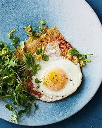parmesan fried eggs with bitter greens
