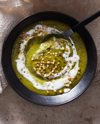 spinach split-pea soup with barley topped with yogurt