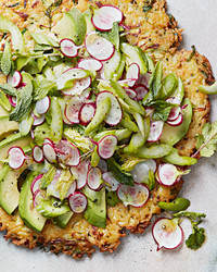 Crispy Rice Cake with Celery Salad and Avocado