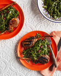 lamb kebabs with greens