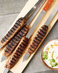 kebabs lamb yogurt mint sauce