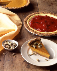 pumpkin pie with graham crust candied pepitas