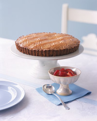Strawberry compote with Breton butter cake