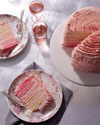 strawberry cake sliced with rose