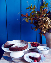 flourless chocolate-almond cake against blue wall