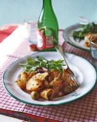 Roasted Calamari with Garlic, New Potatoes, and Chickpeas