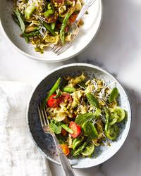 pasta pistachio mint pesto asparagus tomatoes