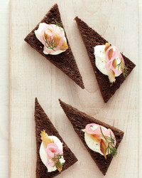 smoked trout on pumpernickel party snacks