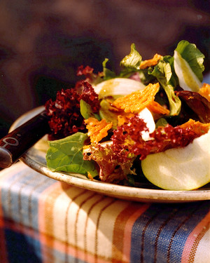 Autumn Greens with Apples, Radishes, and Cheddar frico