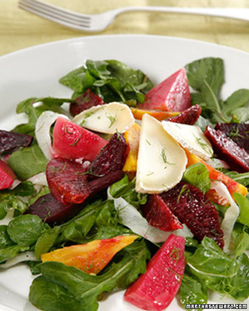 Mixed Baby Beet Salad with Blood Oranges, Shaved Fennel, and Chevrot Cheese